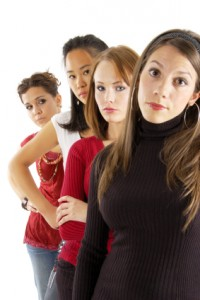 Four young women angry
