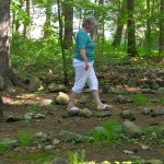 Alex Ericson walking labyrinth at Two labyrinths in the woods of Rolling Ridge Retreat Center in No. Andover, MA on solstice day, 2011