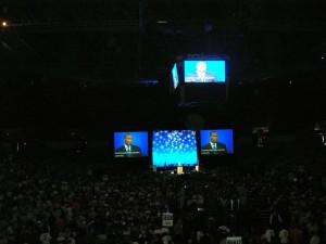 Deval in dark on big screens at state dem convention 2010