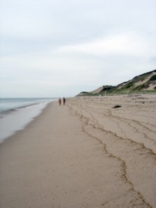 casey and alysha far away on cape cod beach, dunes to right