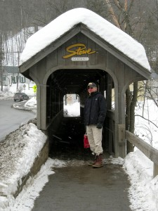 Larry covered walkway in Stowe, VT February 2011
