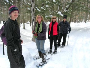 Snowshoeing with Carolyn, Lyn, Susan, Leigh at Johnson State College Trails VSC February, 2011