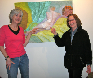 Carolyn Eck and I pointing to her painting of nude man VSC February 2011